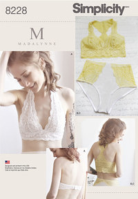 8 Misses´ Soft Cup Bras and Panties. Simplicity 8228.