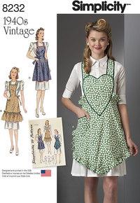 2 1940´s Vintage Aprons. Simplicity 8232.