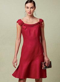 Vogue 1542. Petite Princess Seamed, Flounced Dress with Shoulder Detail, Patricia Keay.