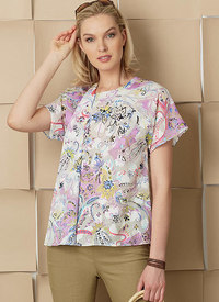 Vogue 9256. Tops with Invisible Zipper and Self-Fabric Underlay, Kathryn Brenne.