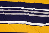 Across-striped, lightweight viscosejersey in yellow, navy and grey