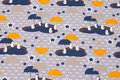 Light grey cotton-jersey with penguins with umbrellas.