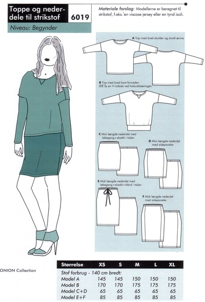 Tops and skirts for knits