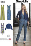 Simplicity 8178. Misses´ Jumpsuit with two leg widths, Dress and Jacket.