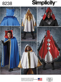 8 Misses´, Men´s and Teen´s Cape Costumes. Simplicity 8238.