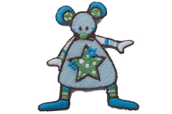 Funny mouse blue patch 5x5cm