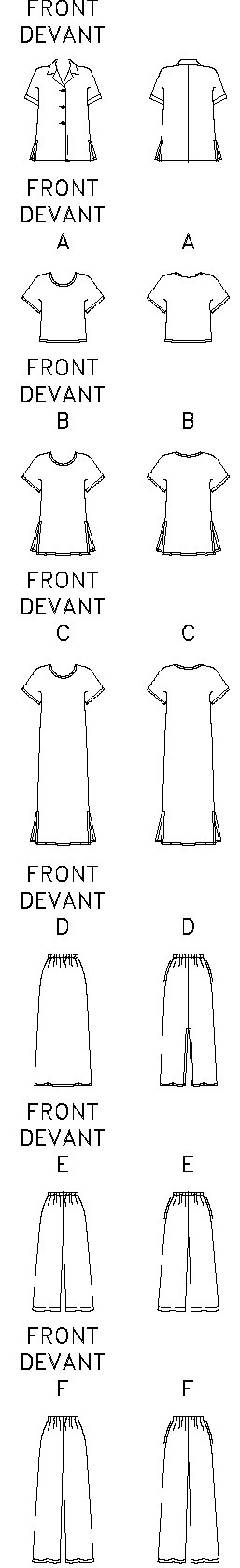 Loose-fitting shirt has collar and above-elbow sleeves with stitched hems. Loose-fitting, pullover top, tunic or above-ankle, A-line dress have cap sleeves. B,C: side slits. A-line skirt, above-ankle or loose-fitting, straight-legged pants have elastic waist and side pockets. D: back slit. Shirt, A,B,C,D: narrow hem. E,F: stitched hem.