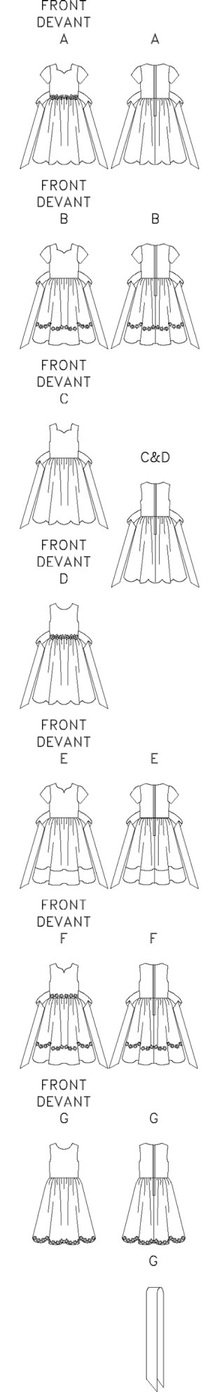 Slightly-flared dress, lower-calf, has fitted, lined bodice, dirndl skirt and back zipper. A,B,C,D,E,F tie-ends. A,B,E short sleeves. A,D,F,G purchased trim. B optional trim. E contrast band. G sash.