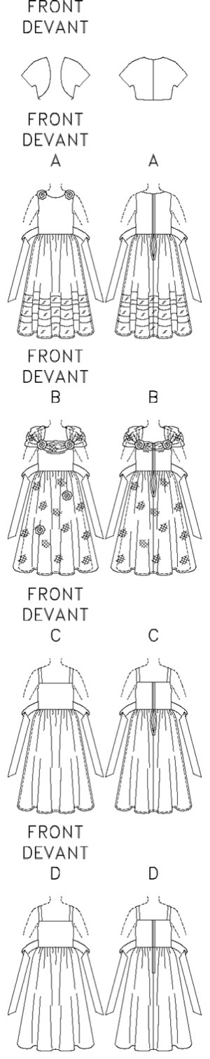Lined jacket, above-waist has short sleeves. Lined, flared dress, evening length has close-fitting bodice, dirndl skirt, tie-ends and back zipper. A,B: purchased flowers. A,B,C: contrast overskirt. B: contrast drape. B,C,D: shoulder straps. Purchased petticoat, ribbon and veil. D: Contrast Bodice and Tie Ends.