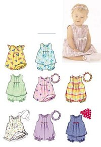 Butterick 3405. Dress, Top, Romper, Panties, Hat and Headband.
