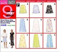 Butterick pattern: Petite Lined Skirt W/elasticized Waist