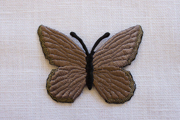 Beige butterfly iron on patch , 4,5x 6 cm