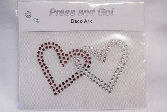 Rhinstone attached hearts 5x10cm