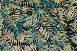Chiffon with leaves in green and gold