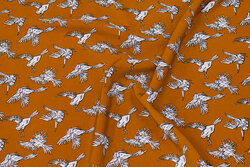 Cinnamon-colored micro polyester with birds
