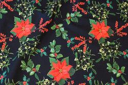Dark navy cotton-poplin with christmas stars in digital-print