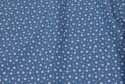 Double woven cotton (gauze) in dove-blue with small white flower