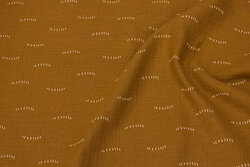 Double woven cotton (gauze) in light brown with small black line-pattern