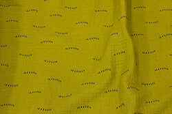 Double woven cotton (gauze) in lime-green with small black line-pattern