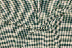 Firm cotton with 4 mm checks in dark green and nature