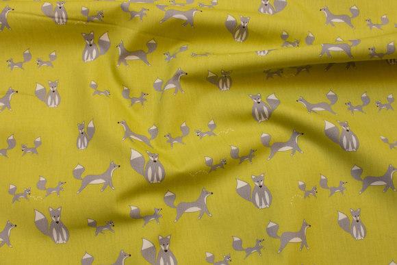 Green-yellow, organic cotton-poplin with grey foxes