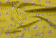 Green-yellow, organic cotton-poplin with grey foxes