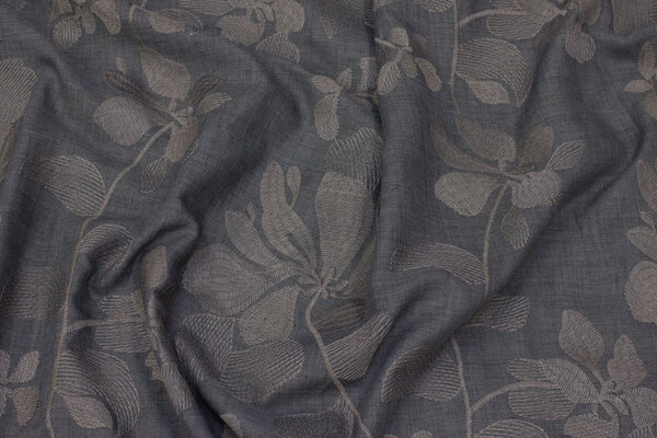 Grey, thin voile with embroidery