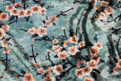 Jade-green ice-velvet with cherry-tree-branches