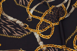 Matt black micro-polyester with stretch and golden chain-pattern