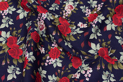 Navy cotton-poplin with ca. 4 cm red roses