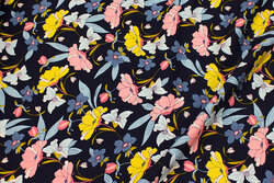 Navy viscose-twill with stretch and flowers