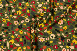 Olive-colored polyester-satin with light stretch and flowers