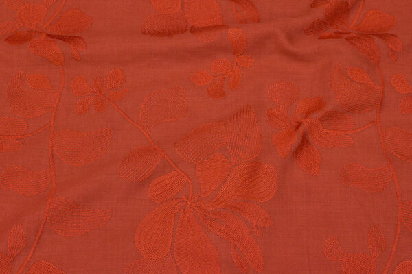 Teglfarvet, thin voile with embroidery