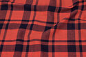 Viscose crepe in navy and coral checks