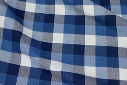 Winter-cotton with checks in blue nuances