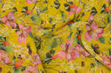 Yellow chiffon with pink orchids